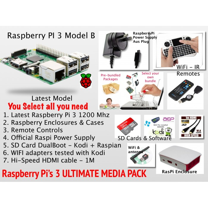 A1 Raspberry PI 3, Kodi XBMC Ultimate Media Center System