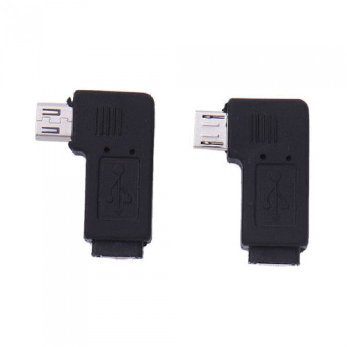 90 Degree Left+right Angle Micro USB B Male to Female Plug Adapters charger