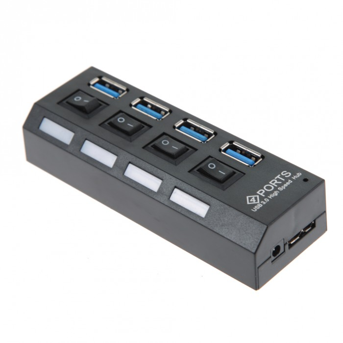 4 Ports USB 3.0 5Gb/s Super Speed Powered HUB