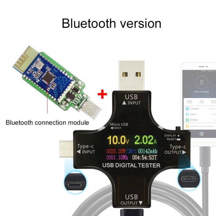 USB tester meter for voltage/current indication and tracking