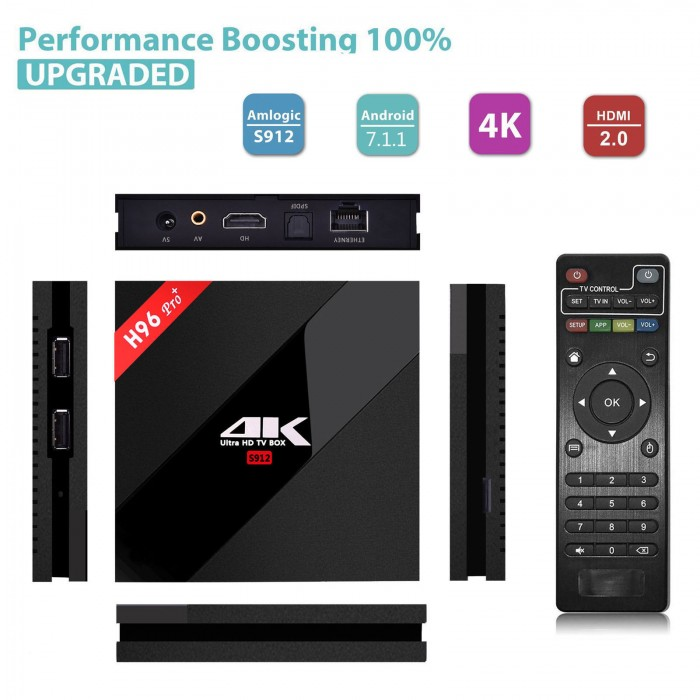 H96 Pro Plus 2+16GB Android 7.1 S912 Octa Core Smart 4K TV Box