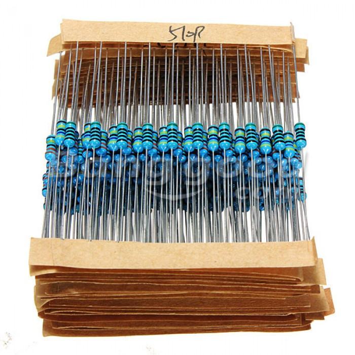 Metal Film Resistors Assorted Kit Set 600 pcs 30 Values 1R - 10MR 1/4W