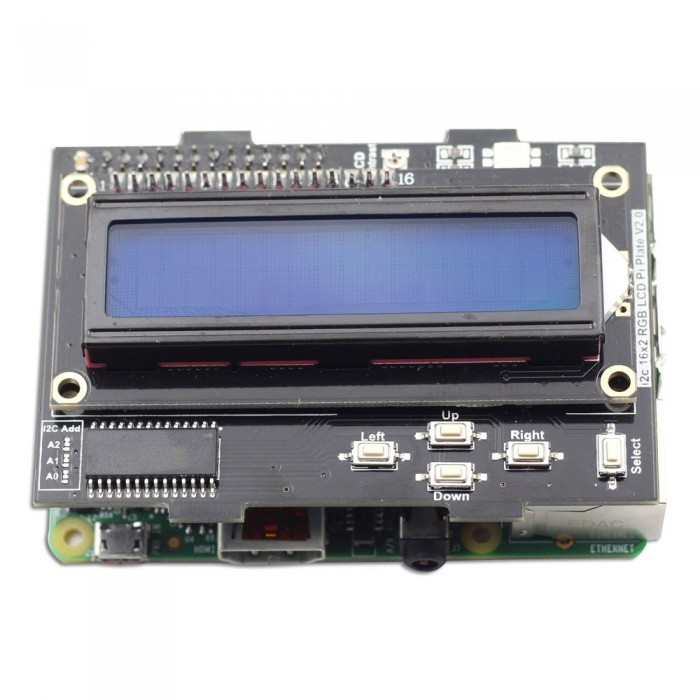 LCD RGB i2C 16x2 Plus Keypad Pre-assembled for Raspberry Pi
