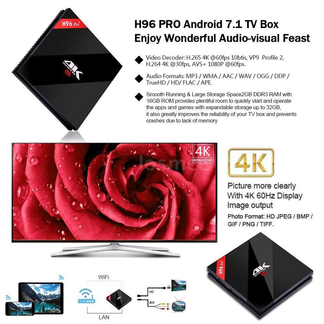 H96 Pro Plus 3+32GB Android 7 1 S912 Octa Core Smart 4K TV Box